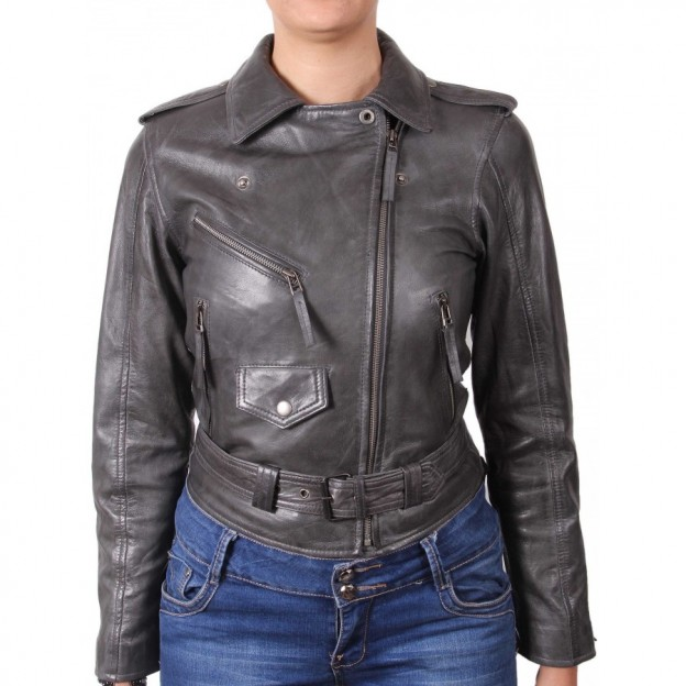 CRUSH Red Ladies Biker Style Fitted Real Lambskin Designer Leather Jacket