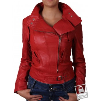 Ladies Red Leather Biker Jacket _ Juliet