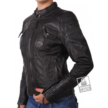 Ladies Black Leather Biker Jacket _ Tamana