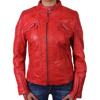 Ladies Red Leather Biker Jacket _ Tamana