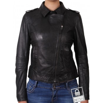 Women Classic Black real Leather Biker Jacket Designer Look