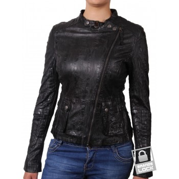 Women Croc Chic Leather Biker Jacket - Kimberley