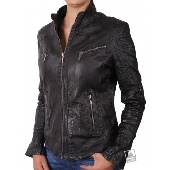 Women Croc  Leather Biker Jacket Black - Ciara