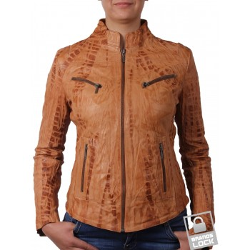 Ladies Croc Tan Leather Biker Jacket - Ciara