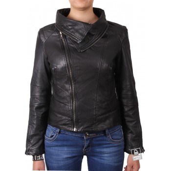 Vintage Women Classic Leather Biker Stylish Collar  Black Jacket