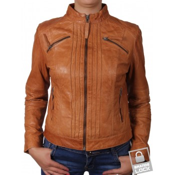 Ladies Tan Leather Biker Jacket - Sophie
