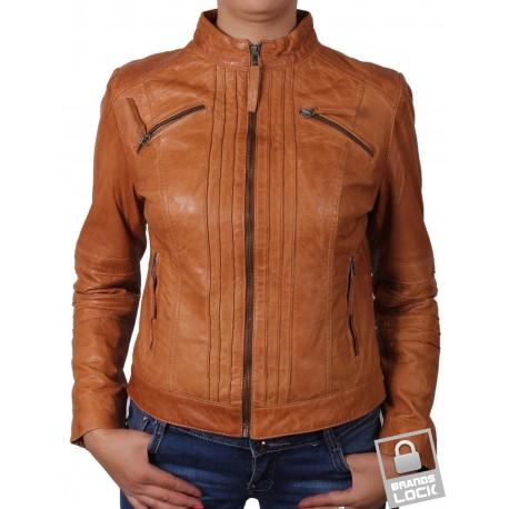 Ladies Tan Leather Biker Jacket - Sophie