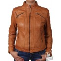 Vintage Women Classic Tan  real Leather Biker Jacket Designer Look