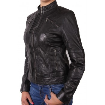 Ladies Black Leather Biker Jacket - Sophie