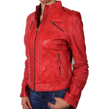 Women  Leather Biker Jacket Red - Sophie