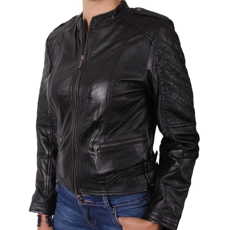 78a7c40a0ac71 Ladies Black Leather Biker Jacket - Madisson. Loading zoom