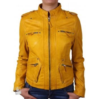Women  Leather Biker Jacket Yellow - Malibu