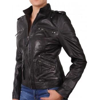 Women  Leather Biker Jacket Black - Malibu