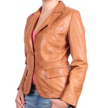 Ladies Brown Leather Blazer Jacket - Emely