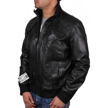 Men's  Leather Bomber Jacket Black - Elliott