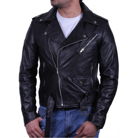 Mens Black Biker Leather Jacket - Safari