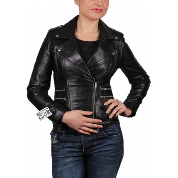 Ladies Leather Biker Jacket - Moss