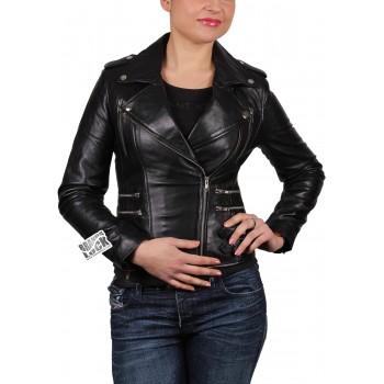 Women Leather Biker Jacket - Moss