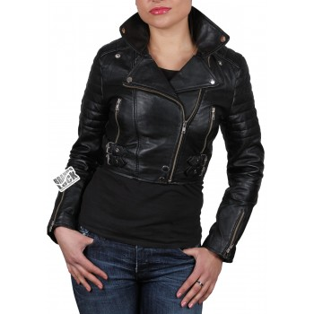 Ladies Black Leather Biker Jacket - Sixty