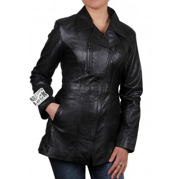 Women  Leather Biker Jacket Black - Mellisa