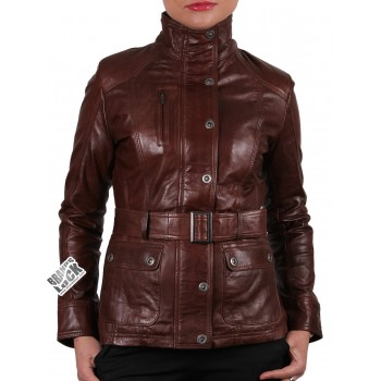 Women Leather Biker Jacket Brown  - Silic