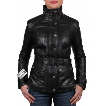 Women Leather Biker Jacket  Black - Silic