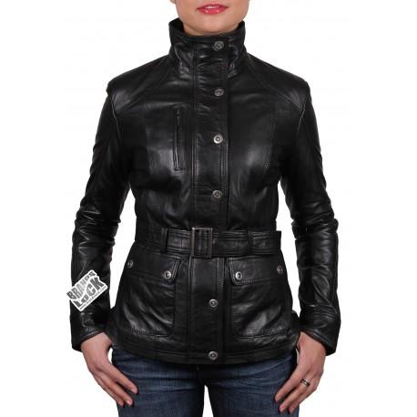 Ladies Black Leather Biker Jacket - Silic