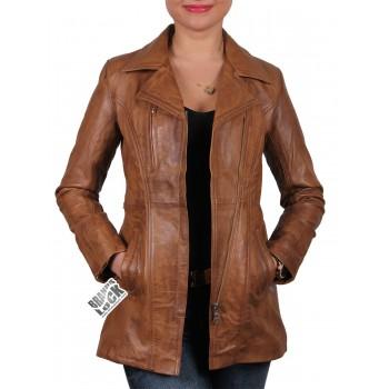 Women Leather Biker Jacket Tan - Mellisa