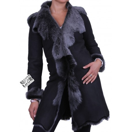 Black - Silver Toscano Sheepskin Leather Coat