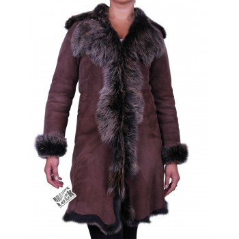 Suede 3/4 Toscana Sheepskin Leather Coat Brown