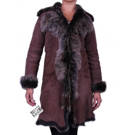 Brown - Golden Suede 3/4 Toscana Sheepskin Leather Coat