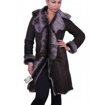 Silver Suede 3/4 Toscana Sheepskin Leather Coat Dark Brown