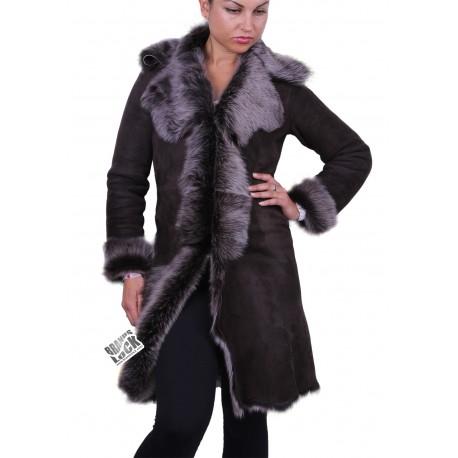 Dark Brown - Silver Suede 3/4 Toscana Sheepskin Leather Coat