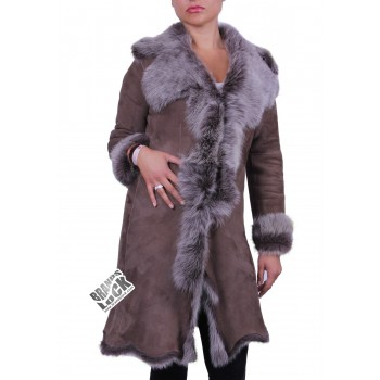 Suede 3/4 Toscana Sheepskin Leather Coat Dark Taupe