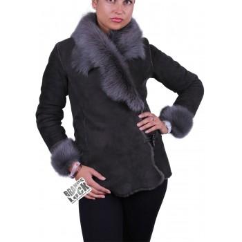 Grey Suede Short Spanish Toscana Sheepskin Leather Jacket