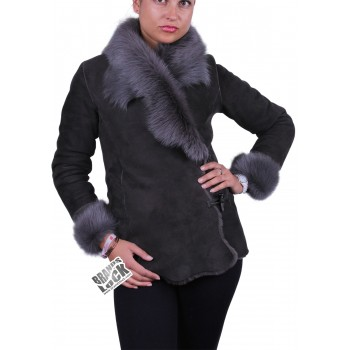 Suede Short Spanish Toscana Sheepskin Leather Jacket Grey