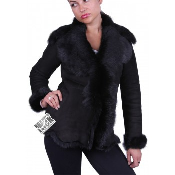 Suede Short Spanish Toscana Sheepskin Leather Jacket  Black