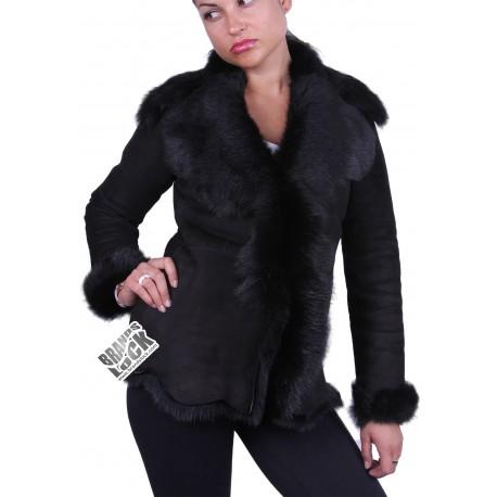 Dark Black Suede Short Spanish Toscana Sheepskin Leather Jacket