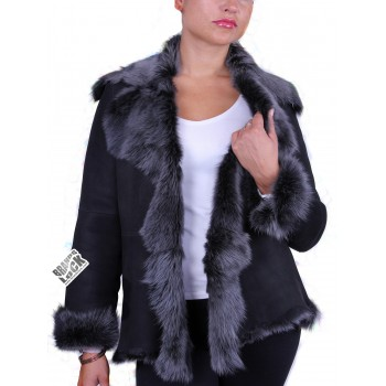 Women   Toscana Sheepskin Leather Fur Gilet Black Silver