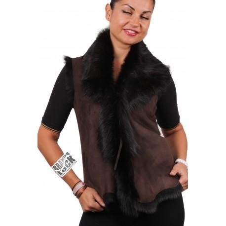 Ladies Brown-Black Toscana Sheepskin Leather Fur Gilet