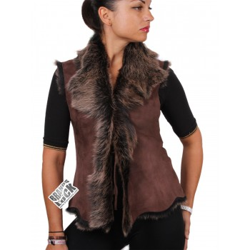 Women  Toscana Sheepskin Leather Fur Gilet Brown-Gold