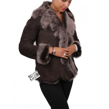 Women Toscana Sheepskin Leather Fur Gilet  Brown-Silver
