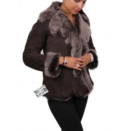 Ladies Brown-Silver Toscana Sheepskin Leather Fur Gilet