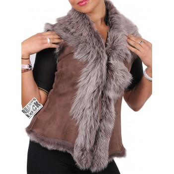 Women Toscana Sheepskin Leather Fur Gilet Dark-Taupe