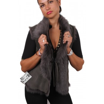 Women  Toscana Sheepskin Leather Fur Gilet Grey