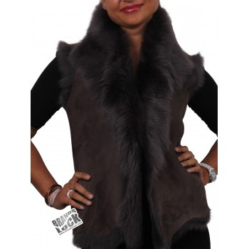 Women Toscana Sheepskin Leather Fur Gilet  MK Grey