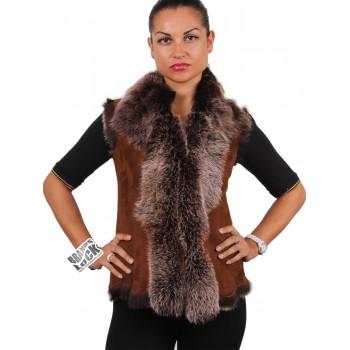 Ladies Whisky Toscana Sheepskin Leather Fur Gilet