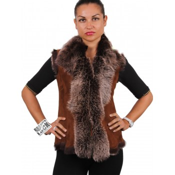 Women Toscana Sheepskin Leather Fur Gilet Whisky