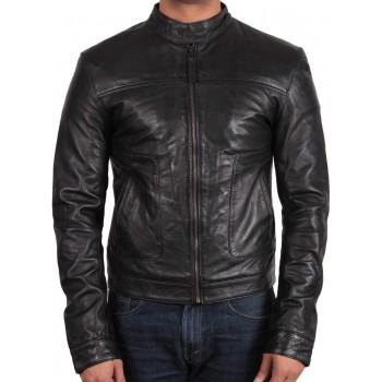 Men's Black Leather Jacket - Asasin