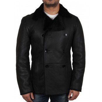 Mens Aviator Shearling Sheepskin Bomber Leather Flying jacket